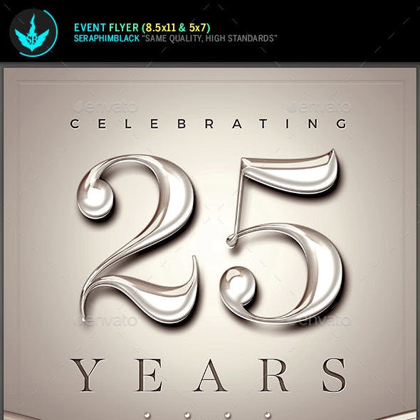 Silver and Rose Church Anniversary Flyer Template