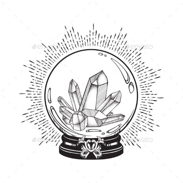Magic Crystal Ball with Gems