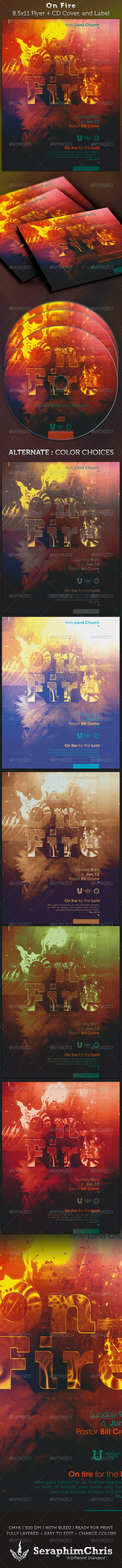 On Fire Full Page Flyer and CD Cover - Church Flyers