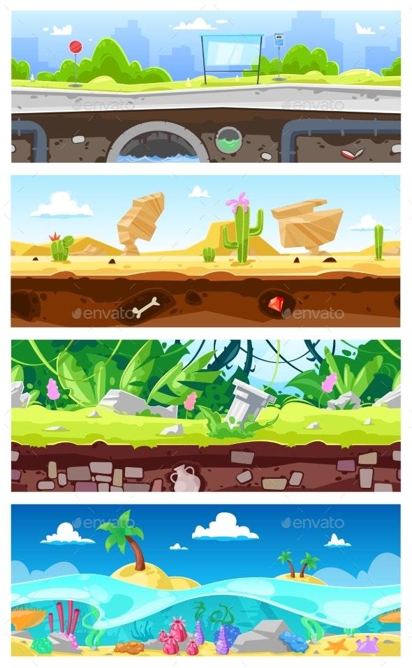 Game Background Vector Cartoon Landscape Interface - Landscapes Nature