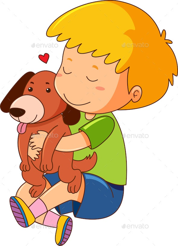 Little Boy with Dog - People Characters