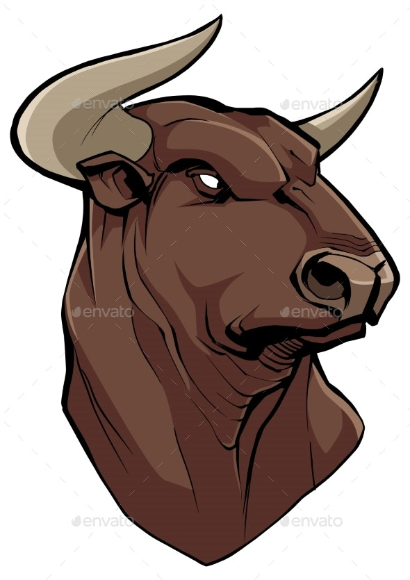 Bull Head on White - Animals Characters