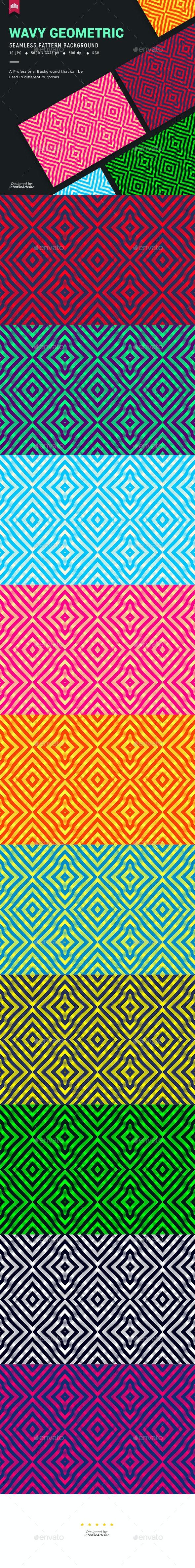 Wavy Geometric Seamless Pattern Background - Patterns Backgrounds