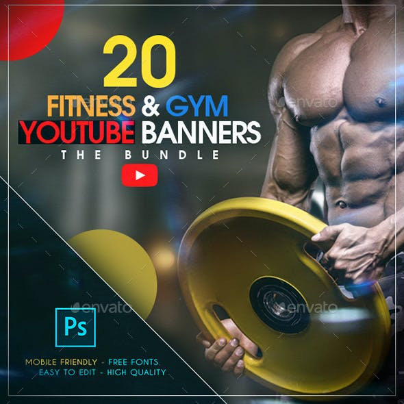 YouTube Bundle - 20 Fitness & Gym Banners