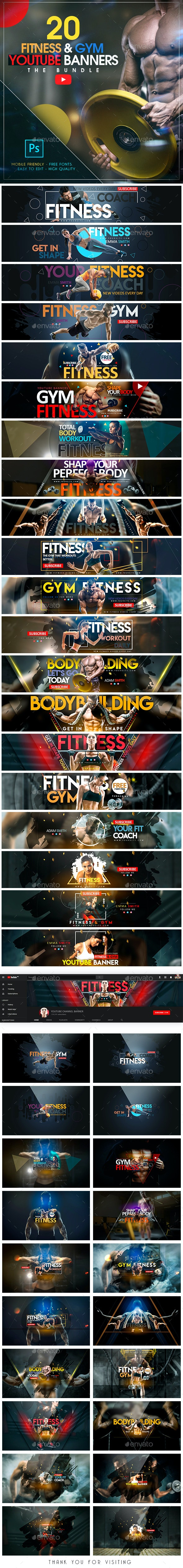 YouTube Bundle - 20 Fitness & Gym Banners - YouTube Social Media