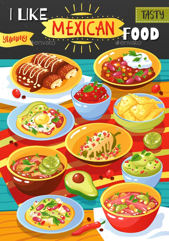 Mexican Food Ad Poster - Food Objects