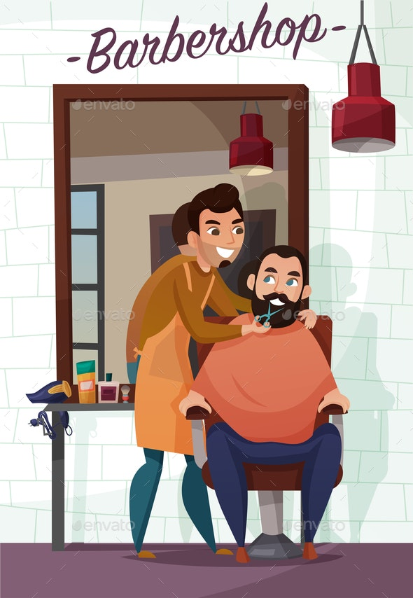 Barber Services Cartoon Illustration - Industries Business