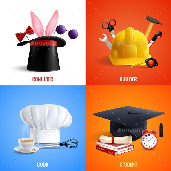 Different Professions Hats Design Concept - Miscellaneous Vectors