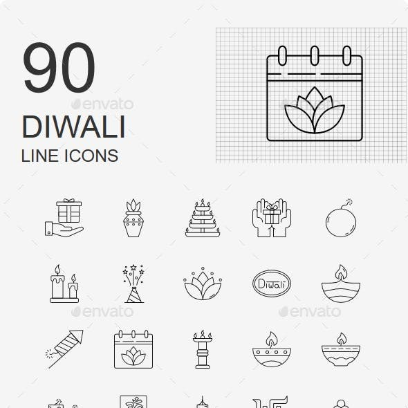 70+ Diwali Line Icons