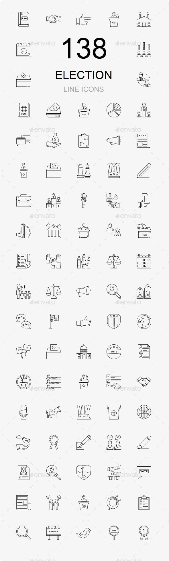 120+ Elections Line Icons - Business Icons