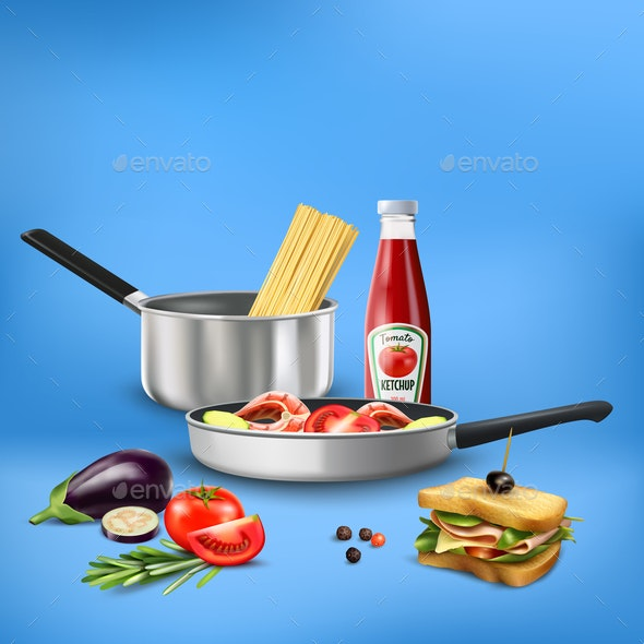 Realistic Kitchen Tools Food Composition - Food Objects