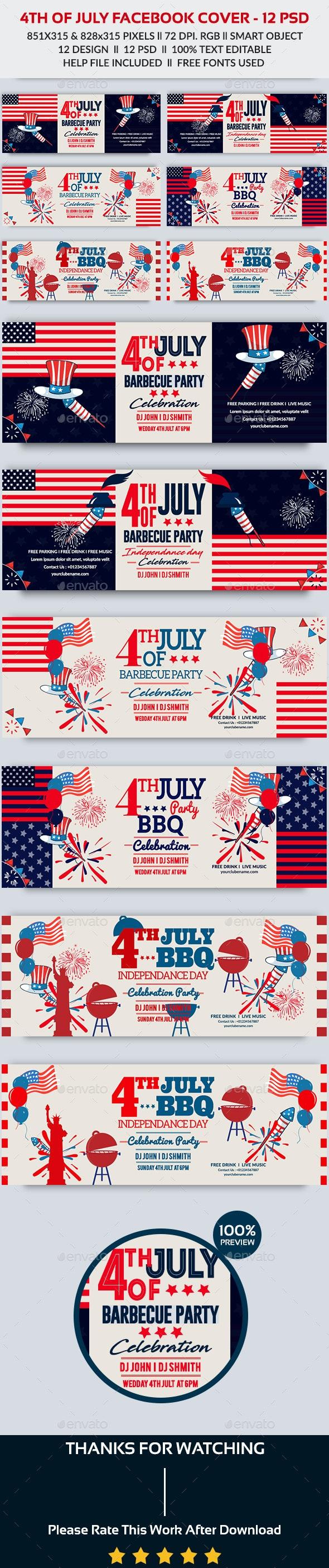 4th of July Facebook Cover-Bundle-12 PSD - Facebook Timeline Covers Social Media