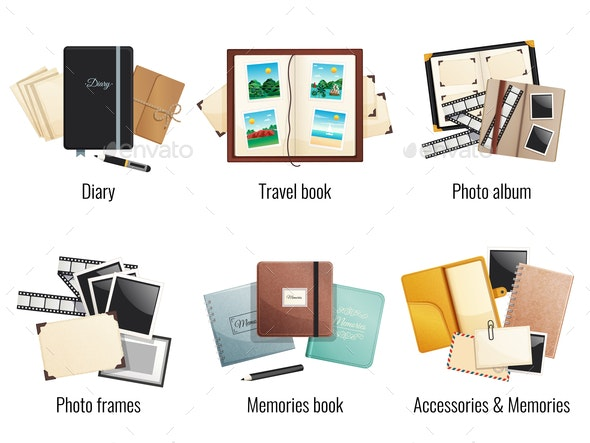 Memories Books and Diaries Compositions - Miscellaneous Vectors