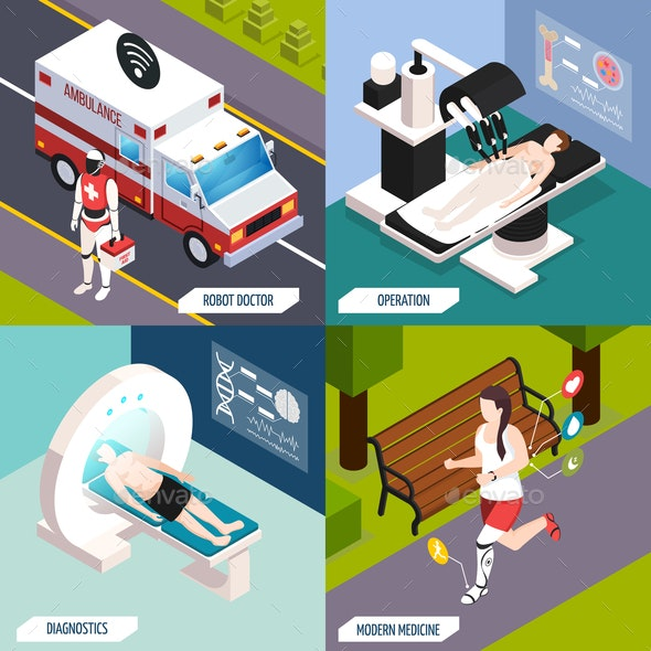 Medical Technologies Isometric Concept - Health/Medicine Conceptual