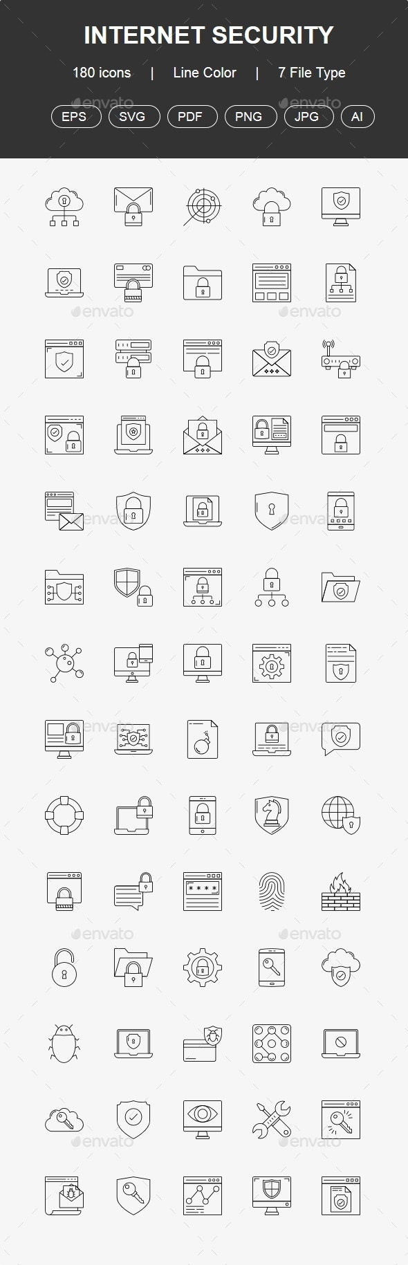 100+ Internet Security Line Icons - Technology Icons