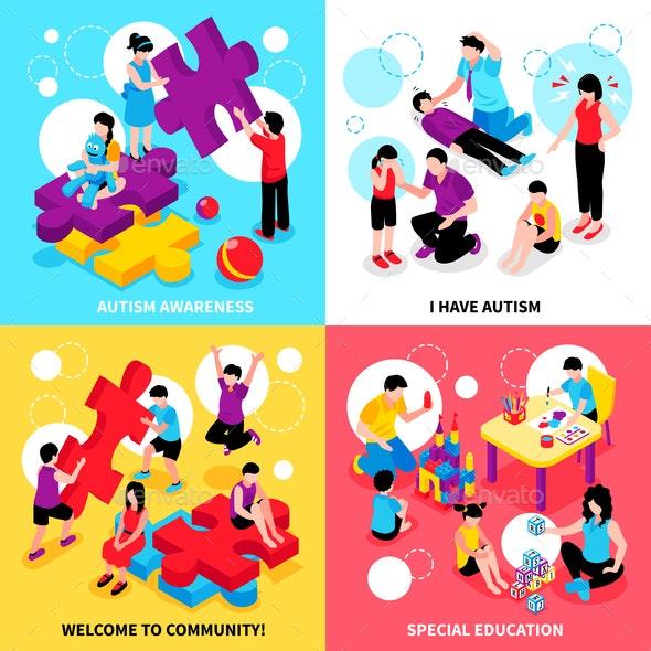 Autism Isometric Design Concept - Health/Medicine Conceptual