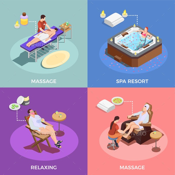 Spa Salon Isometric Design Concept - People Characters