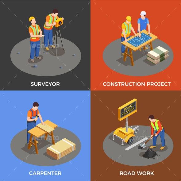 Builders Isometric Design Concept - Industries Business