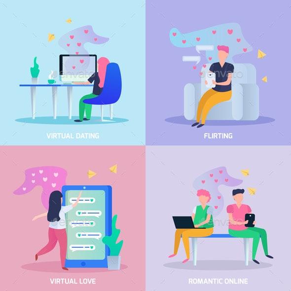 Virtual Love Orthogonal Concept - Backgrounds Decorative