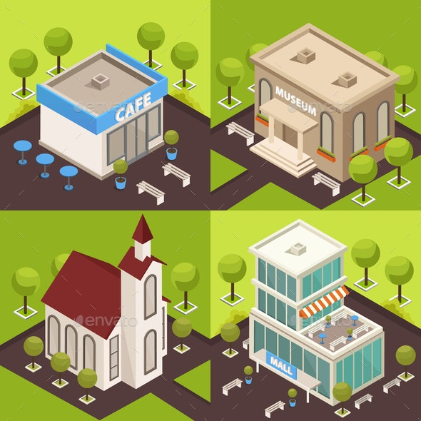 Urban Architecture Isometric Concept - Buildings Objects