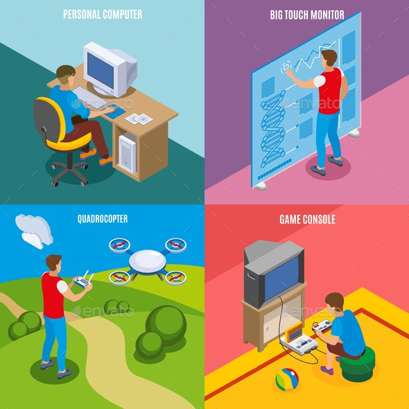 Digital Gadget Evolution Isometric Concept - People Characters