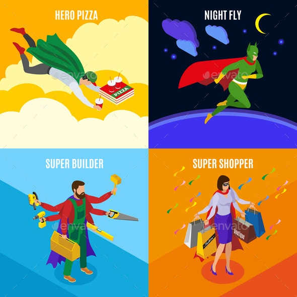 Super Heroes Isometric Design Concept - People Characters