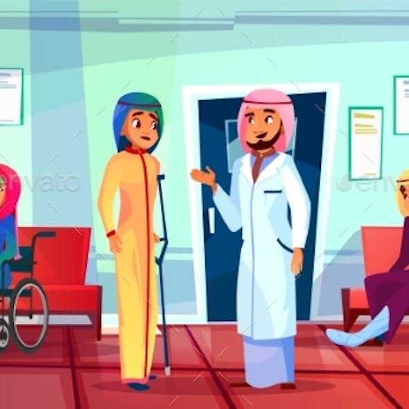 Muslim Patient Visit Doctor Vector Illustration
