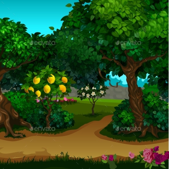 A Garden with Ripe Fruit. Vector Cartoon Close-up - Landscapes Nature