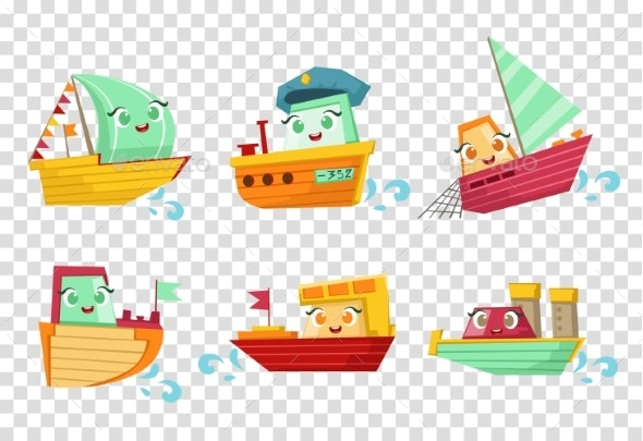 Flat Vector Set of Marine Vessels - Man-made Objects Objects