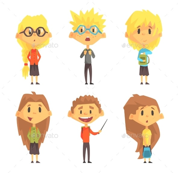 Flat Vector Set of Funny School Children - People Characters