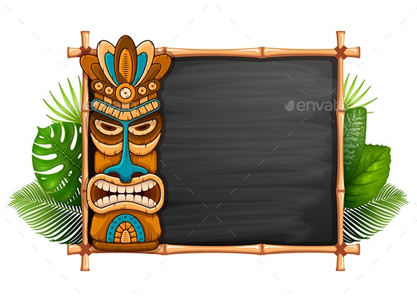 Tiki Mask And Chalkboard - Backgrounds Decorative