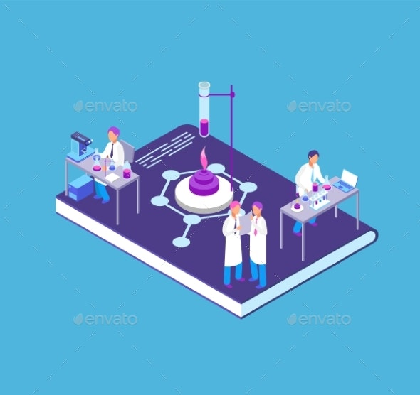 Chemistry Pharmaceutical Isometric Concept - People Characters