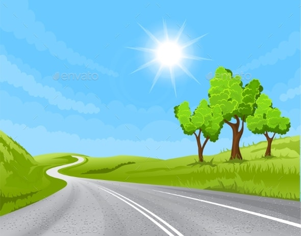 Road Going into the Distance - Landscapes Nature