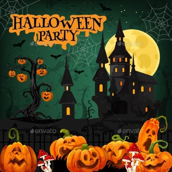 Halloween Night Party Invitation with Horror House - Halloween Seasons/Holidays