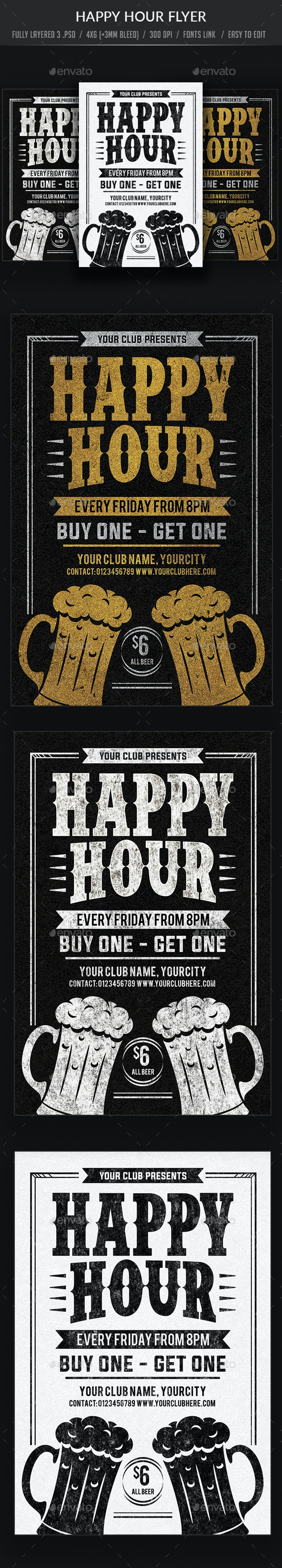 Happy Hour Flyer Templates - Clubs & Parties Events