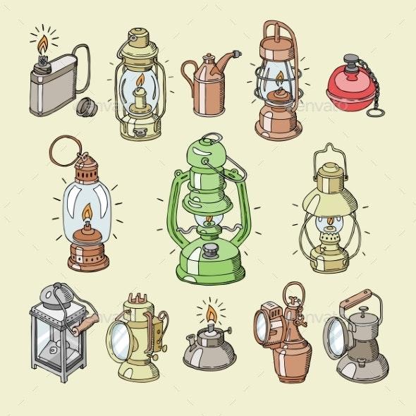 Lantern Vector Antique Light Lamp or Vintage - Miscellaneous Vectors