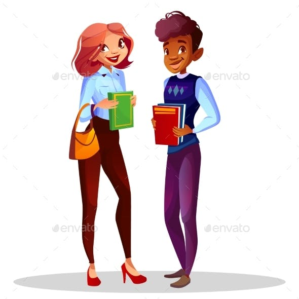College or University Students Vector Illustration
