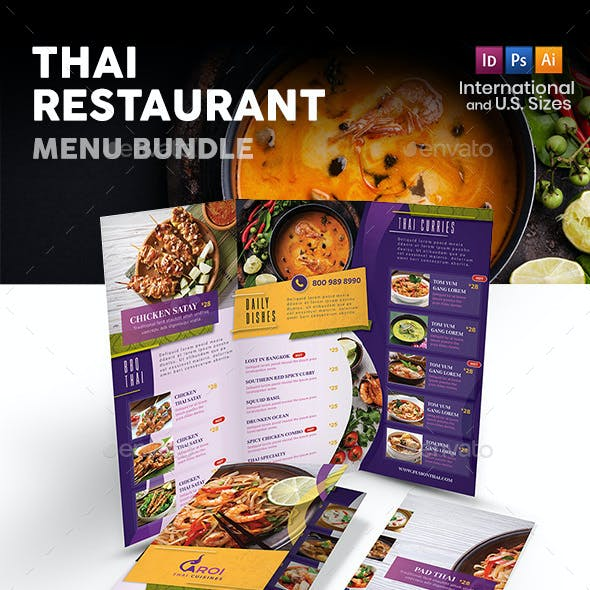 Thai Restaurant Menu Print Bundle 5