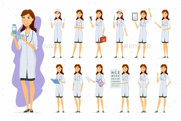 Female Doctor - Vector Cartoon People Character - Health/Medicine Conceptual