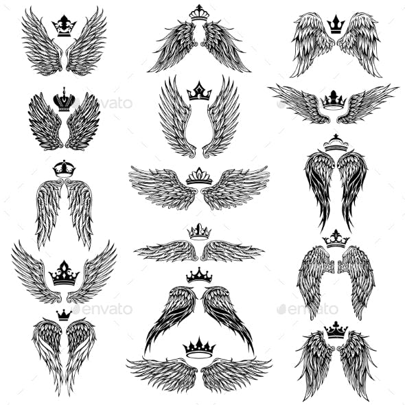Wings with Crowns Vector Silhouettes