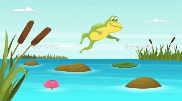 Frog Jumping in Pond - Animals Characters