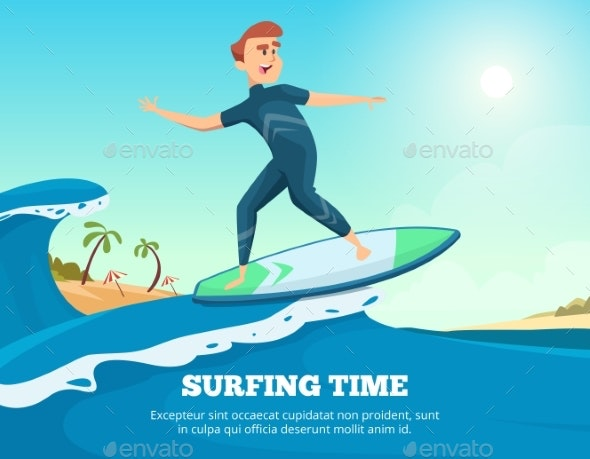 Surfer Swimming - People Characters