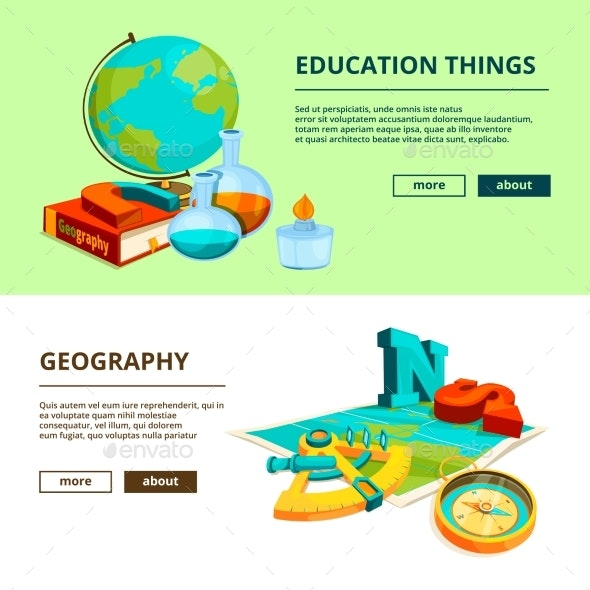 Horizontal Banners with Science and Geography - Backgrounds Decorative
