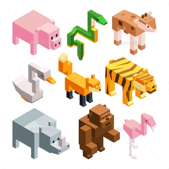 Vector Pictures Set of Stylized Animals - Animals Characters