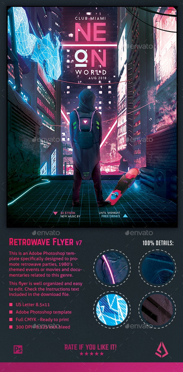 Synthwave Flyer v7 Cyberpunk World Retrowave Poster Template - Miscellaneous Events