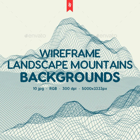 Wireframe Landscape Mountains Backgrounds