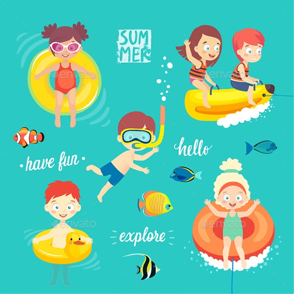 Summer Kids Set - People Characters