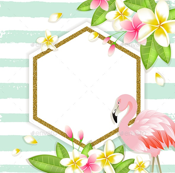 Floral Tropical Banner with Flamingo - Backgrounds Decorative