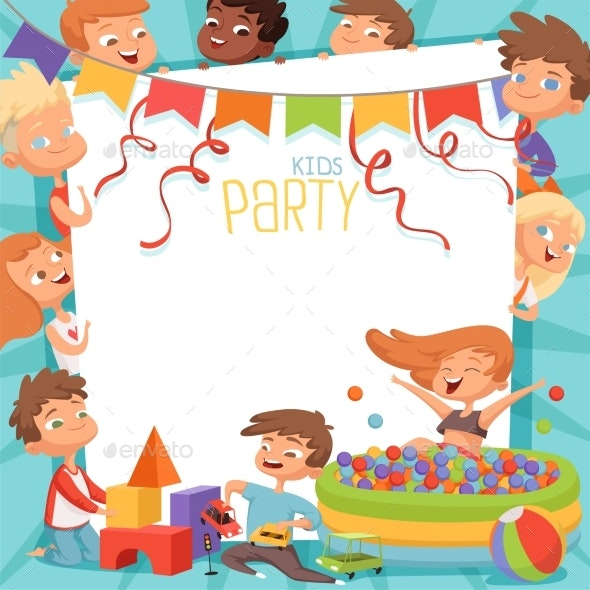 Design Template of Kids Party Invitation - People Characters