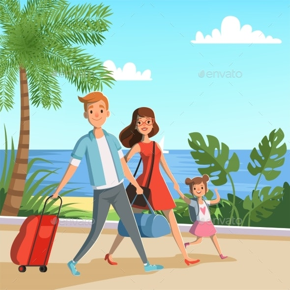 Background Illustration with Happy Family Walking - People Characters